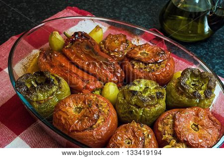 Stuffed tomatoes and peppers, a traditional plate in Greece