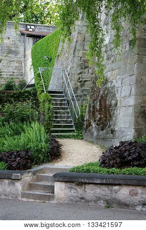 Park in Lausanne with stairs and wall, Switzerland