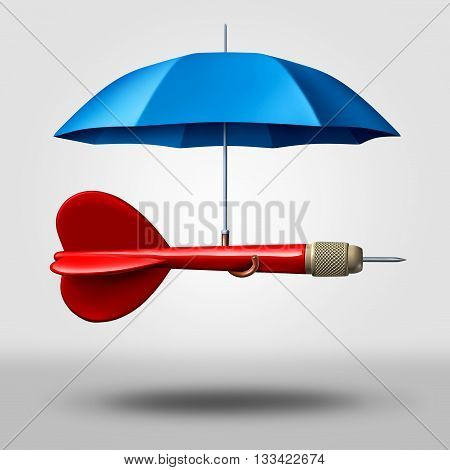 Strategy protection business concept as a dart being supported and protected by an umbrella as a metaphor for providing safety to a goal and plan as a 3D illustration.