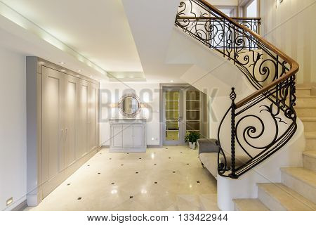 Spacious Corridor With Stylish Staircase