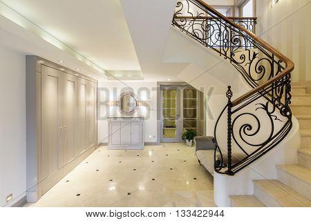 Spacious Corridor With Stylish Staircase