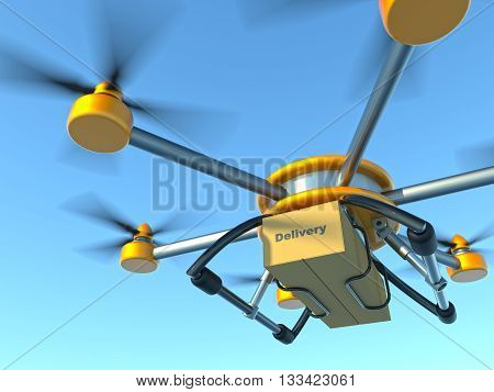 Yellow and gray hexacopter. Shipping to home. Flying courier. 3d illustration