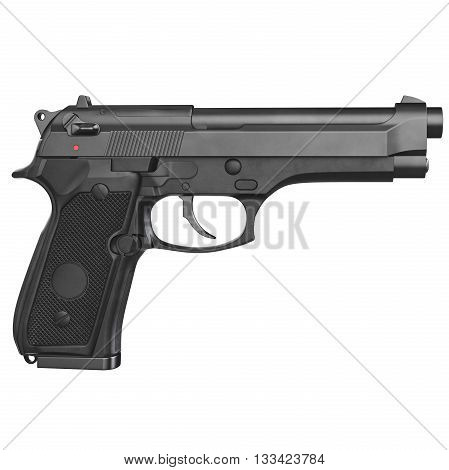 Gun metallic police, military, black on white background isolated, side view. 3D graphic