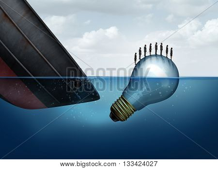 Business rescue solution as a sinking ship and a floating lightbulb rescuing businesspeople as an insurance metaphor for surviving tough times as a group with 3D illustration elements.