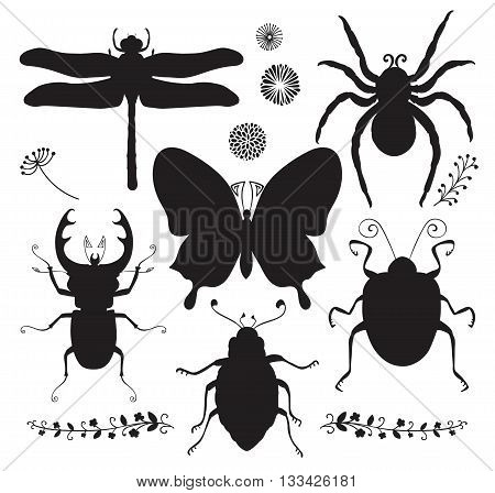 Collection of Six Black Shapes of Hand Drawn Doodle Insects. Dragonfly, Butterfly, Spider, Stag-beetle, Bugs. Vector Illustartion. Insect Silhouettes. Isolated Clip Art