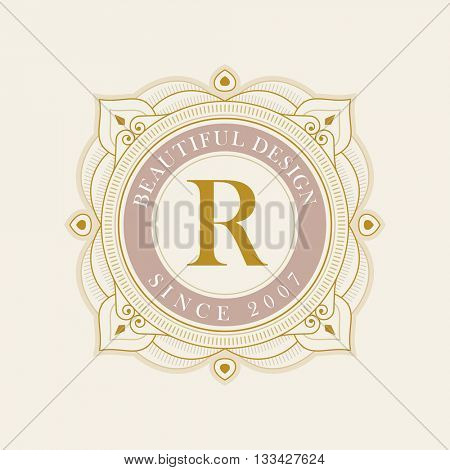 Vector luxury elegant frame ornament line logo design. Monogram emblem template. Ideal for restaurant, hotel, jewelry, boutique, cafe, heraldic,  fashion or royal sign.