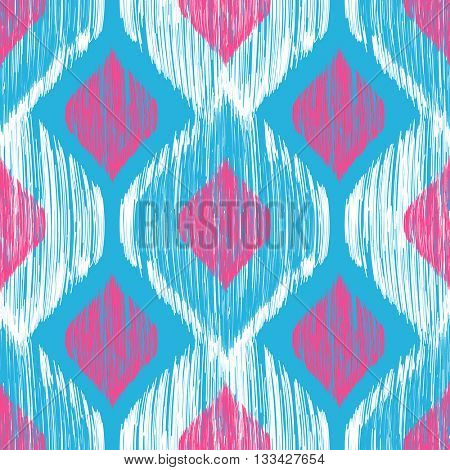 Ethnic modern tribal ikat blue, white and pink fashion seamless pattern. Vector ikat background