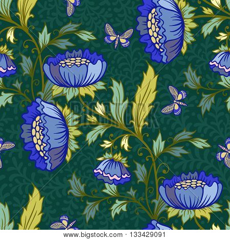 Vector floral seamless pattern with butterflies and flowers.