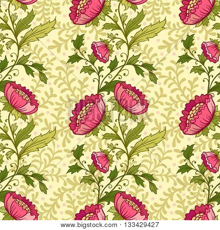 Vector floral seamless pattern. Floral ornament. Background.