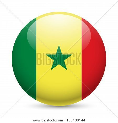 Flag of Senegal as round glossy icon. Button with Senegalese flag