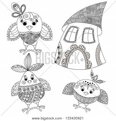 Funny birds and house painted bright pattern in ethnic style. Antistress pattern.