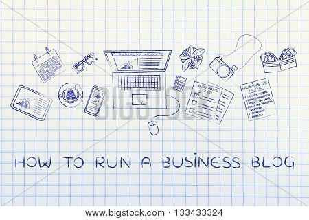 Business & Finance Blogger Desk With Laptop, How To Run A Blog