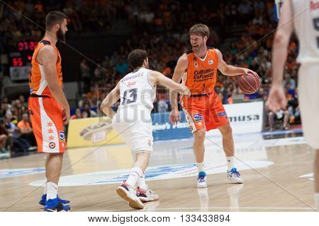 VALENCIA, SPAIN - JUNE 7th: Stefansson with ball during 3rd playoff match between Valencia Basket and Real Madrid at Fonteta Stadium on June 7, 2016 in Valencia, Spain