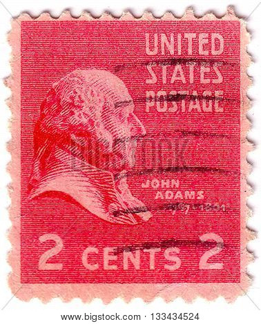 United States Of America - Circa 1938: A Stamp Printed In Usa Shows Portrait Of 2Nd President Of Usa
