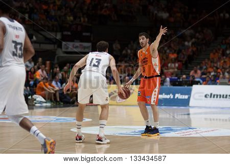 VALENCIA, SPAIN - JUNE 7th: Guillem Vives during 3rd playoff match between Valencia Basket and Real Madrid at Fonteta Stadium on June 7, 2016 in Valencia, Spain