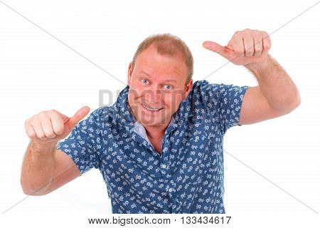Closeup portrait of Successful happy smiling man 30-35 years in shirt looking at camera Positive human emotion. facial expression Isolated on white background