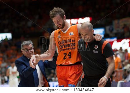 VALENCIA, SPAIN - JUNE 7th: John Surna injured (24) during 3rd playoff match between Valencia Basket and Real Madrid at Fonteta Stadium on June 7, 2016 in Valencia, Spain