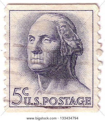 Usa - Circa 1958: A Stamp Printed In Usa Shows Image Portrait George Washington , Circa 1958.