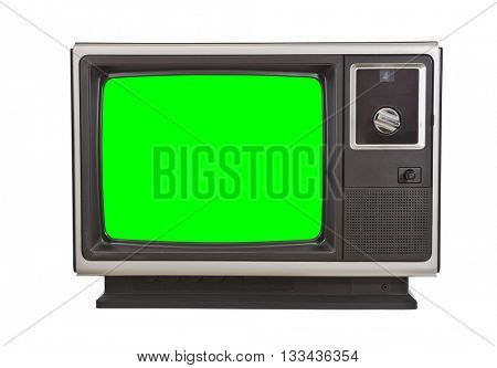 Vintage television with chroma green screen isolated on white.
