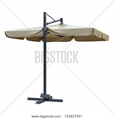Open beach umbrella for sun protection. 3D graphic