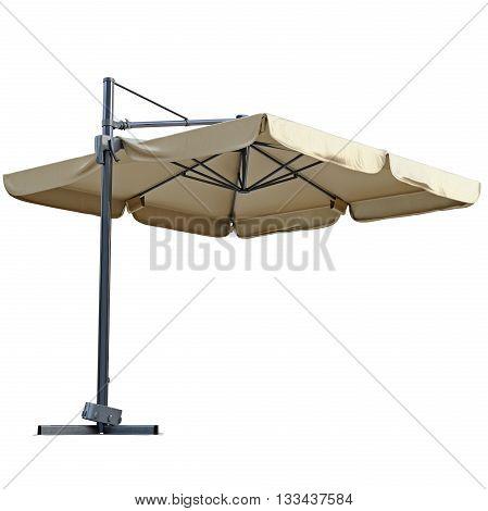 Beige open beach umbrella for rest. 3D graphic