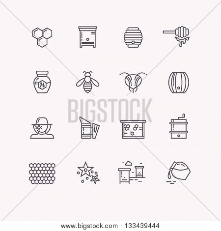 Set of linear icons beekeeping bees honey beekeeper tools. Vector symbols of bee honey and bee products. Illustration bee hives barrels jars honey comb and flower.