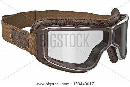 Brown leather glasses in retro style with chrome inserts. 3D graphic