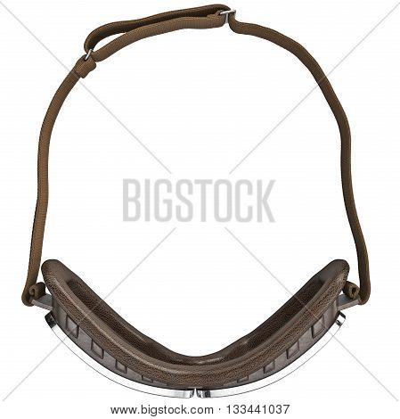 Brown goggles with chrome elements in retro style, top view. 3D graphic