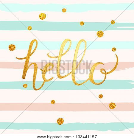 Hello gold foil abstract illustration