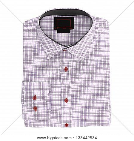 Men's folded checkered shirt color pink, top view. 3D graphic