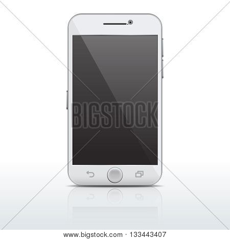 Realistic mobile phone, smartphone vector template, mockup with empty screen. Gadget telephone with touchscreen, telephone flat with camera illustration