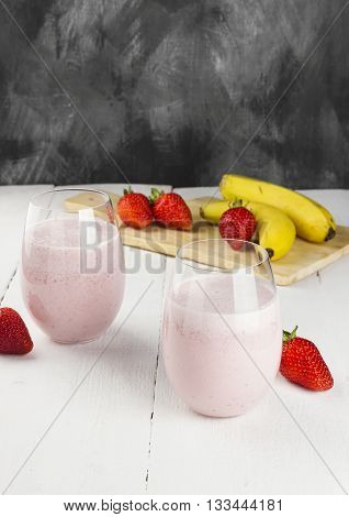 Milkshake With Strawberry And Banana In Glasses