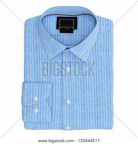 Men's folded stripes shirt color blue, top view. 3D graphic