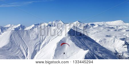 Panoramic View On Sky Gliding In High Mountains