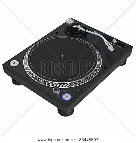 Turntable dj mixer equipment with chrome elements. 3D graphic