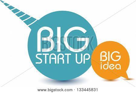 Big idea. Big start up. Quote motivation Vector Illustration