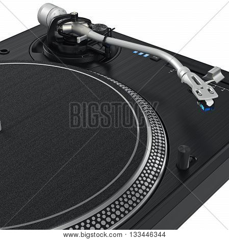 Black vinyl needle record dj turntable with chrome elements. 3D graphic, close view. 3D graphic