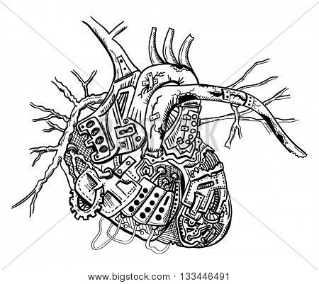 vector - mechanical heart - abstract - isolated on background
