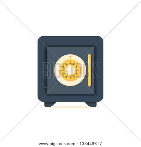 Safe vector icon in a flat style. Metal bank safe. Closed safe isolated on a white background. Concept of the icon safe shadow at the bottom. Simple illustration of the safe.