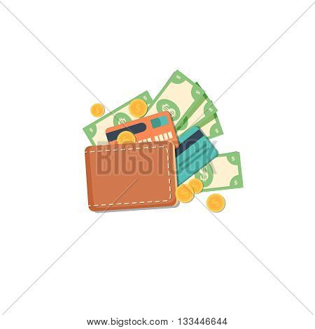 Wallet with money flat illustration. Wallet with dollars, credit cards and cash. Vector illustration