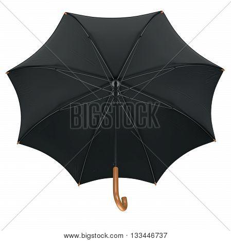 Black classic rain umbrella open with wooden handle. 3D graphic