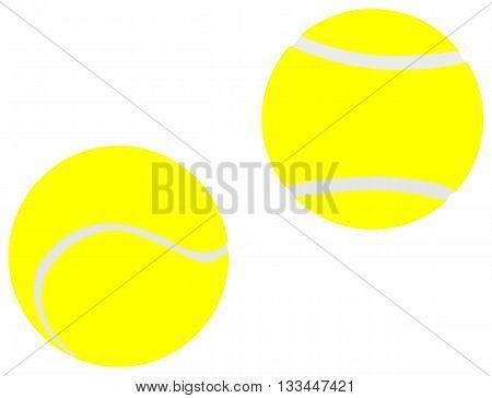 Two yellow tennis balls ,  tennis balls ,