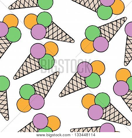 Seamless with isolated ice cream on white background