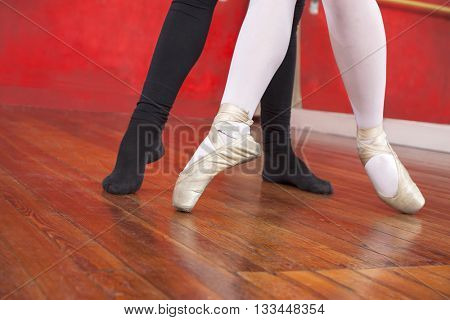 Trainer And Ballerina Performing On Hardwood Floor