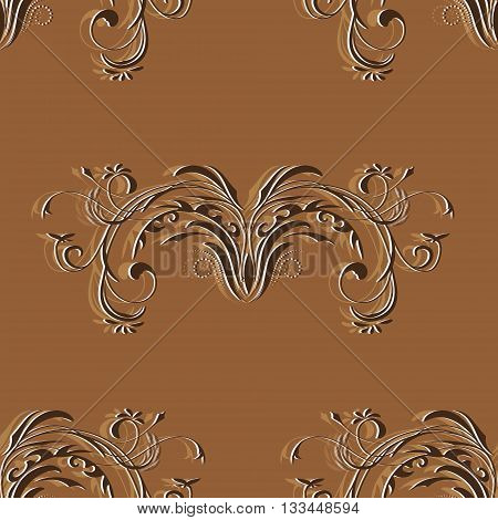 Seamless vintage pattern with elements of abstract floral ornament in brown tones, vector illustration