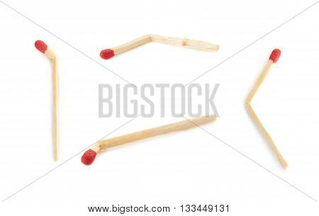 Set of Broken Wooden unused match isolated over the white background