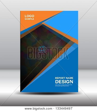Blue Cover Annual report template posterleaflet polygon background