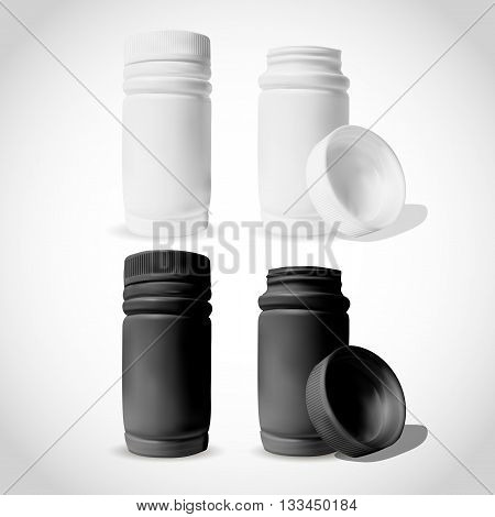 Medicine bottle on white background. White and black plastic bottle mock-up cardboard packaging. Medicine and vitamins examples and templates isolated.