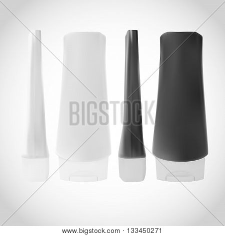 Shampoo Or Gel Or Lotion White And Black Plastic Bottle. Packaging Template For Product Design.