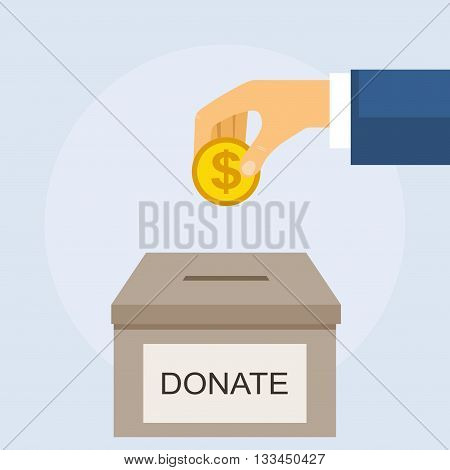 Money box donate and coin in hand. Man throws gold coin in a box for donations. Donation box giving money. Vector illustration in flat style design.